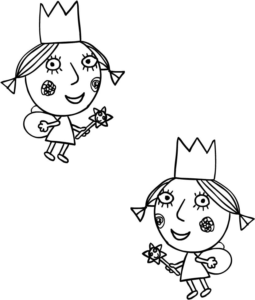 Disegno di Daisy e Poppy, le sorelline di Holly (Il piccolo regno di Ben e Holly) da stampare e colorare