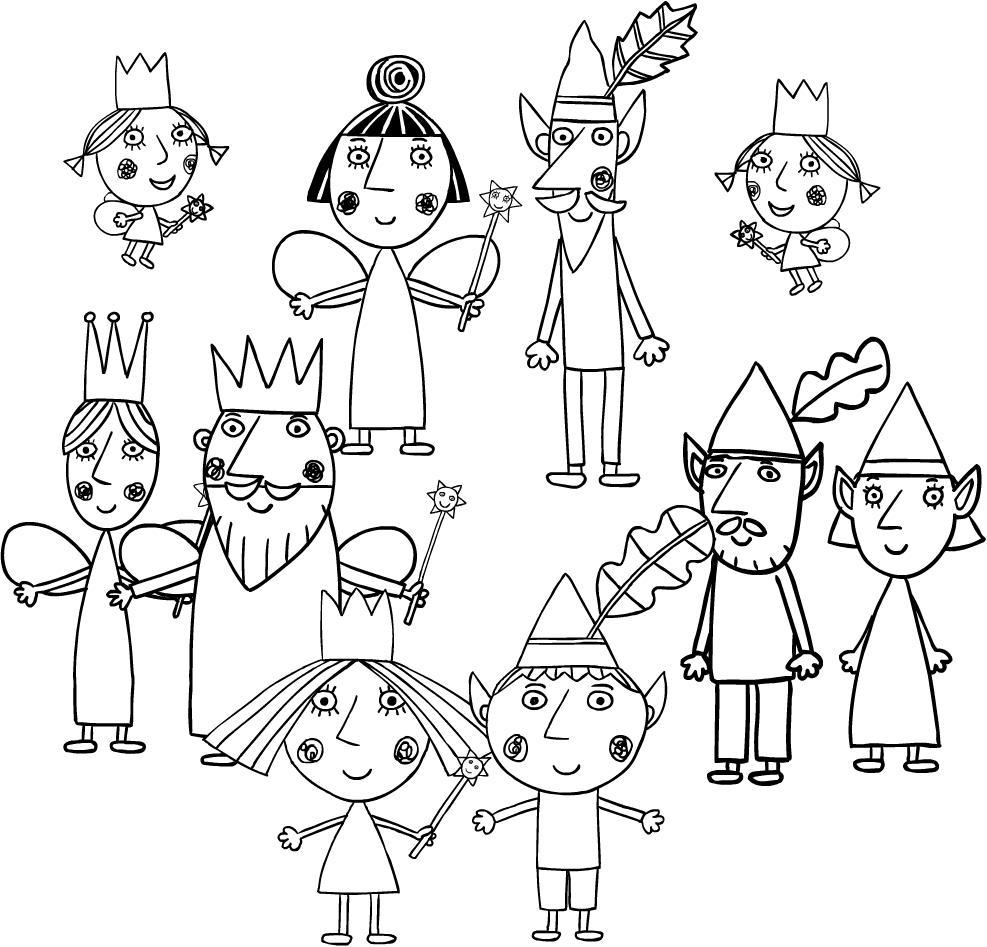 Disegno dei personaggi de Il piccolo regno di Ben e Holly da stampare e colorare