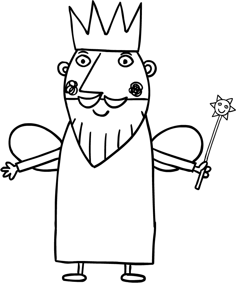 Disegno di Re Cardo, il padre di Holly (Il piccolo regno di Ben e Holly) da stampare e colorare