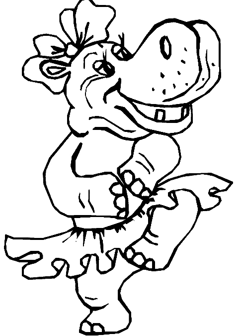 Disegno 12 di ippopotami da stampare e colorare