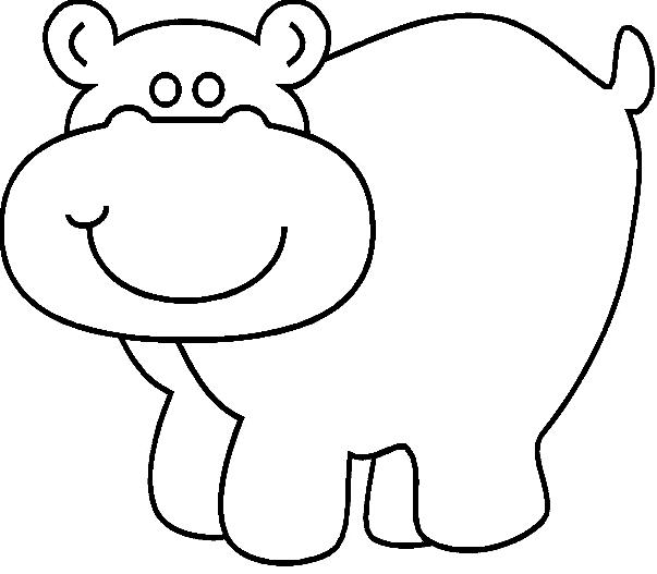 Disegno 17 di ippopotami da stampare e colorare