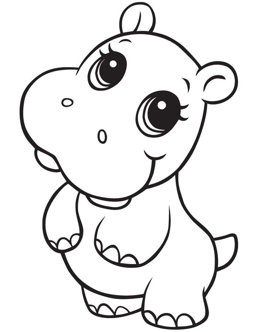Disegno 20 di ippopotami da stampare e colorare