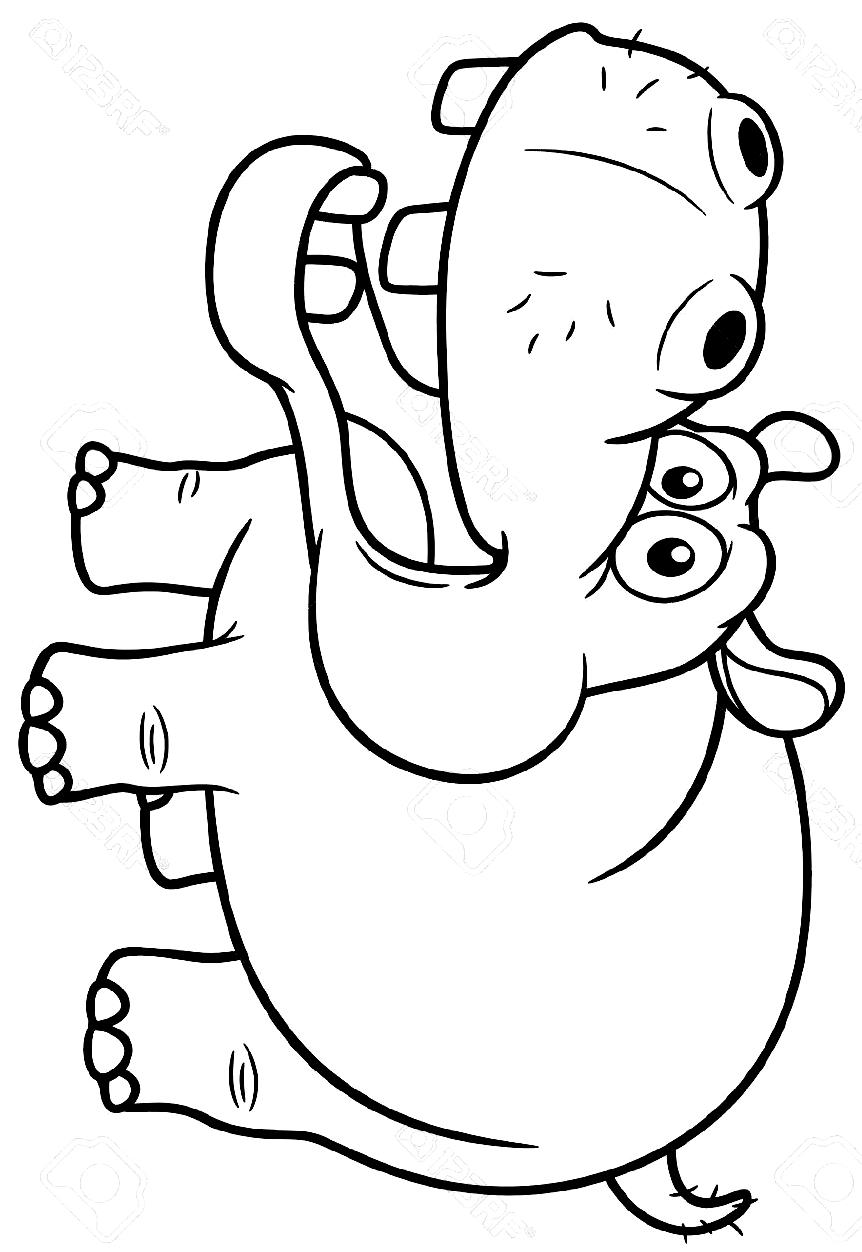 Disegno 21 di ippopotami da stampare e colorare