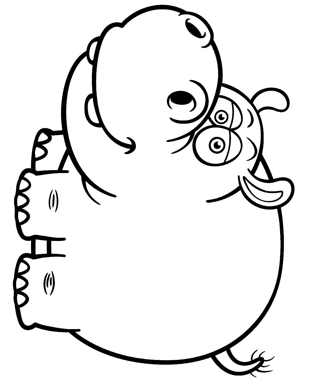 Disegno 22 di ippopotami da stampare e colorare