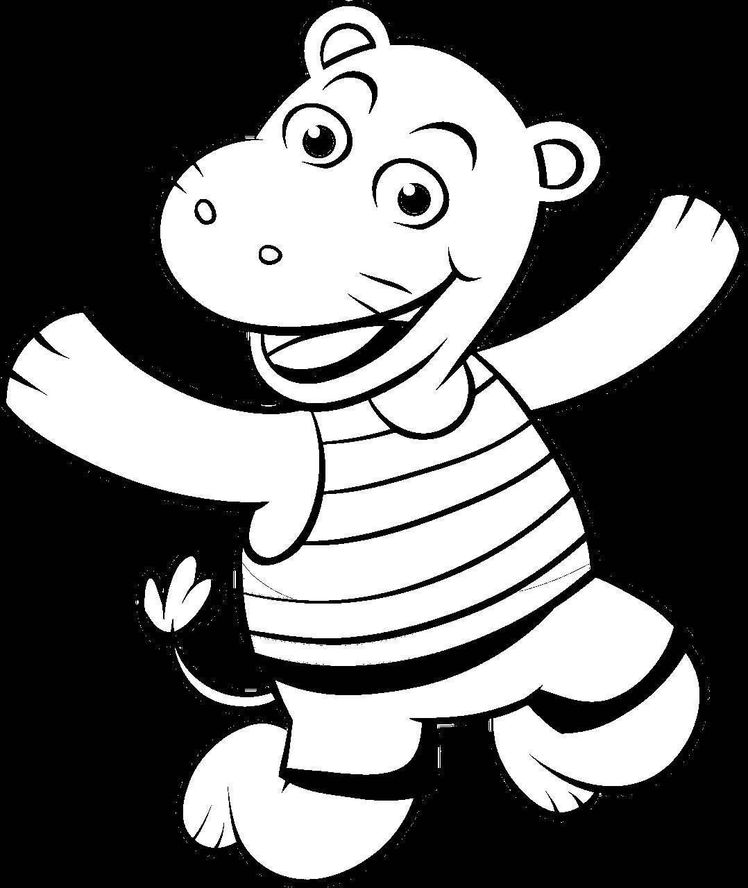 Disegno da colorare di ippopotamo stile cartone animato per bambini