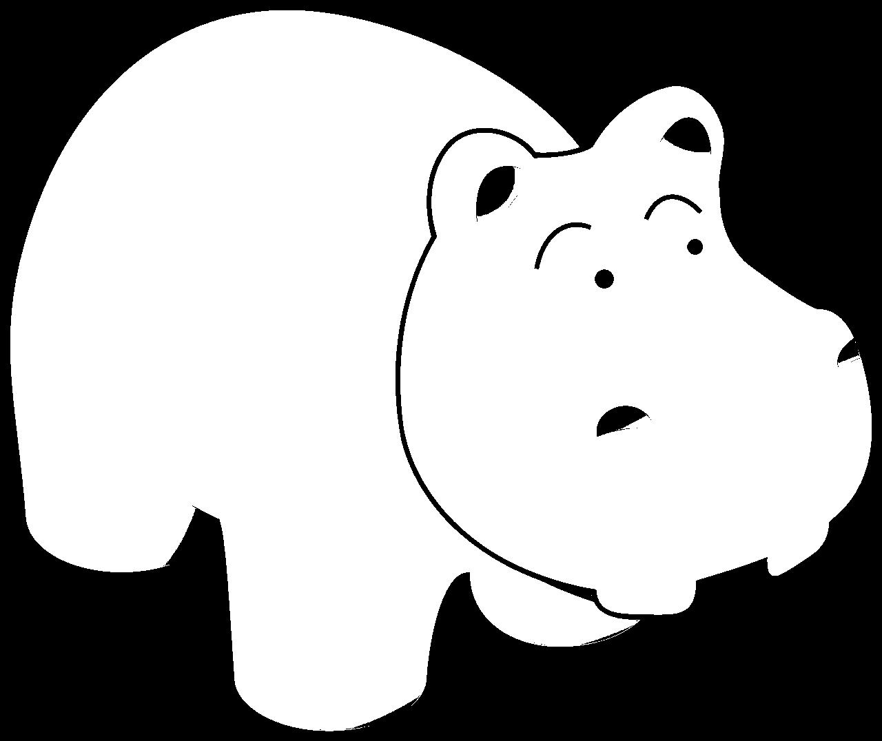 Disegno da colorare di ippopotamo cartoon per bambini