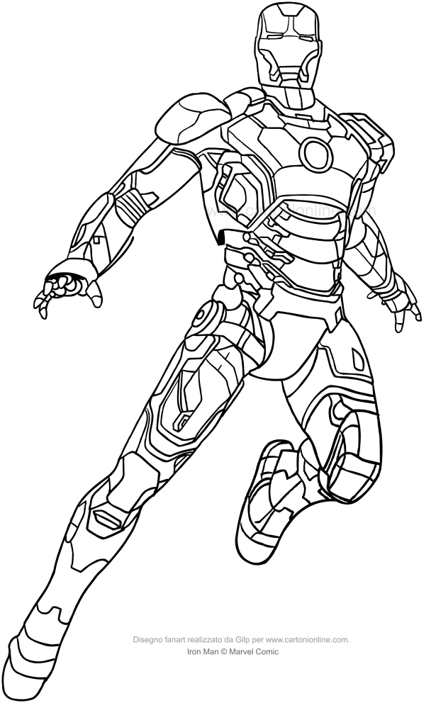 Disegno di iron man a figura intera da colorare for Iron man da colorare