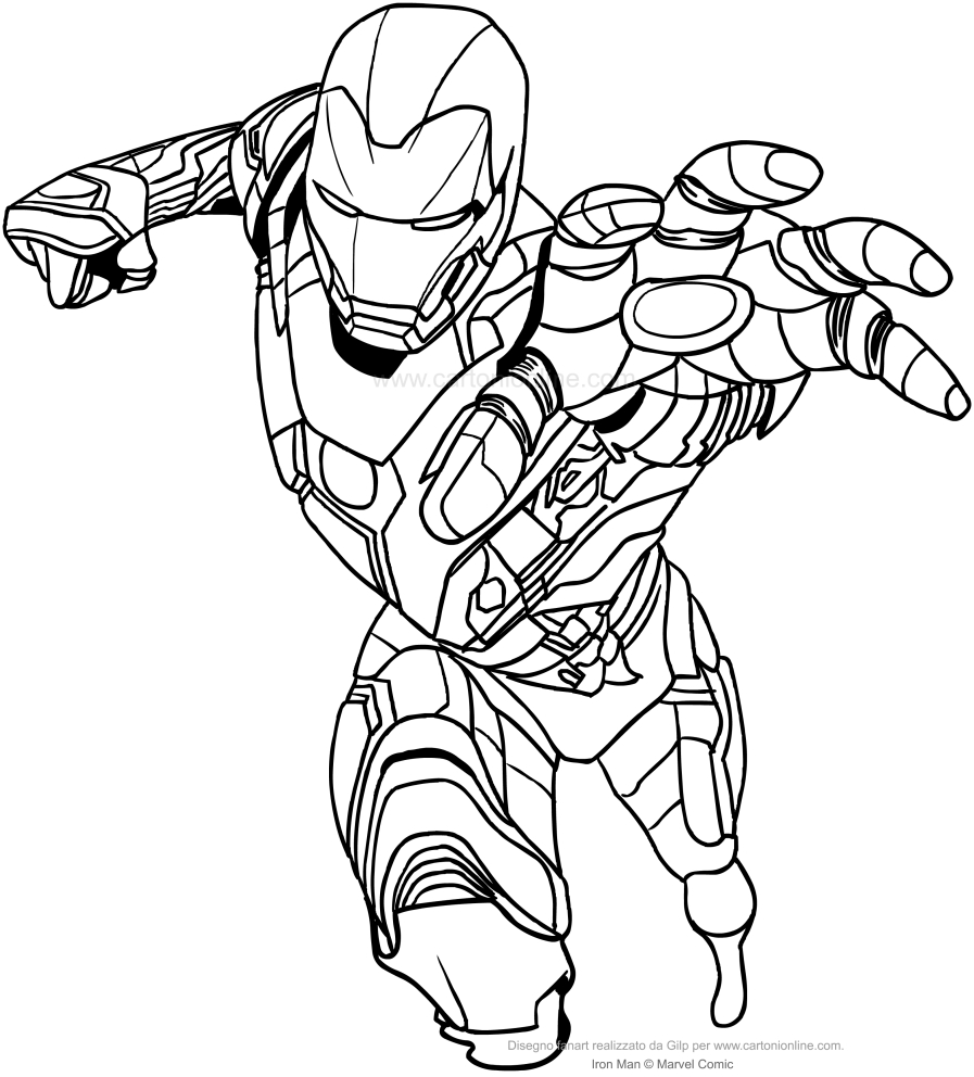 Disegno di iron man con mano frontale da colorare for Iron man da colorare