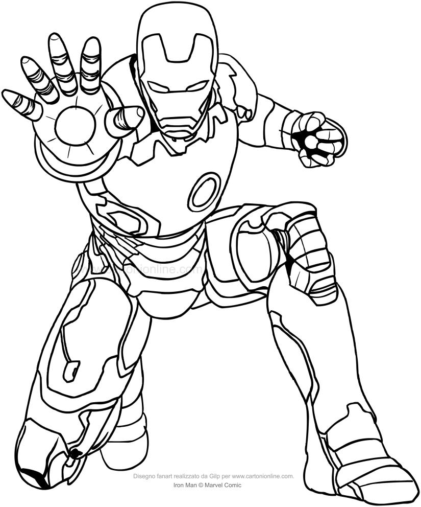Tekening van Iron-Man die het grootlicht van de hand uitstraalt om te worden afgedrukt en gekleurd