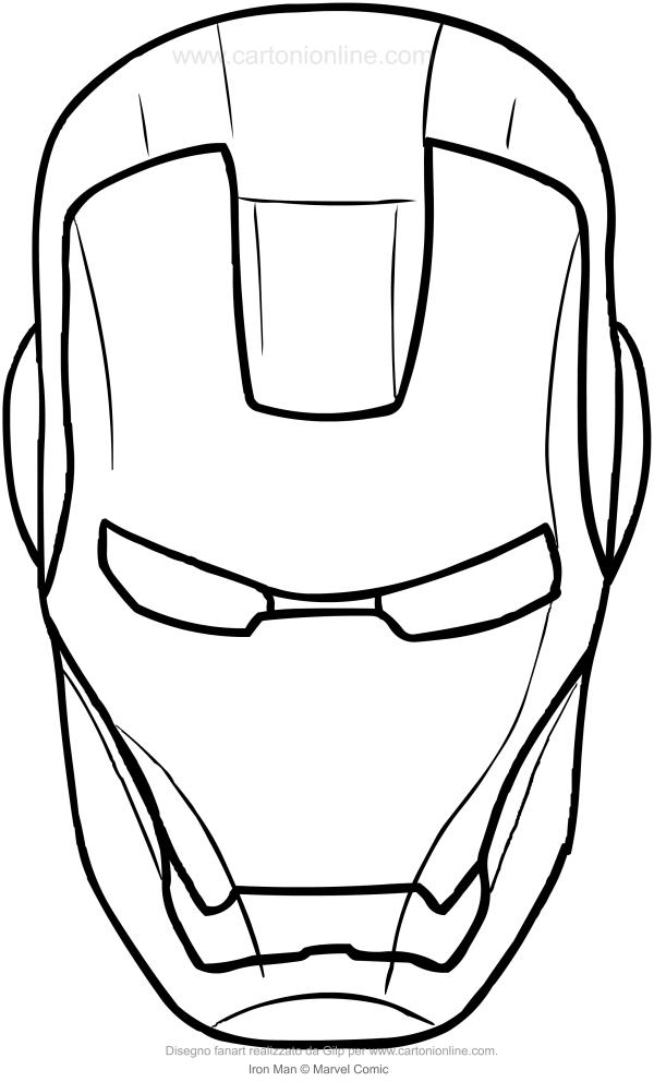 Dessin du visage d'Iron-Man pour imprimer et colorier