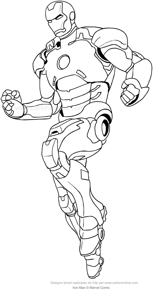Disegno di iron man pronto all 39 azione da colorare for Iron man da colorare