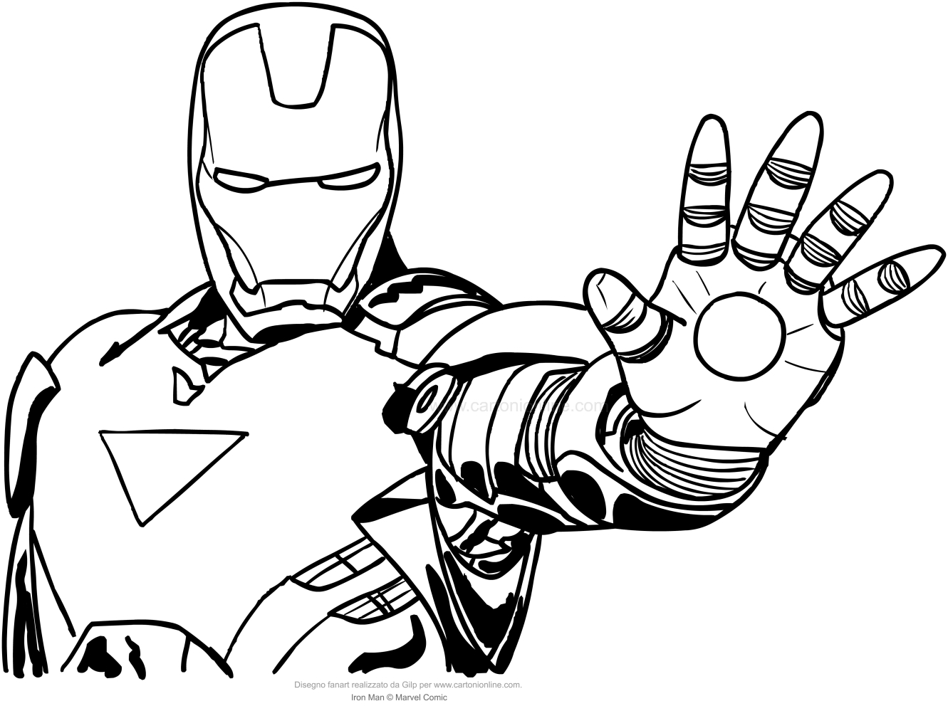Disegno di iron man a mezzo busto da colorare for Iron man da colorare