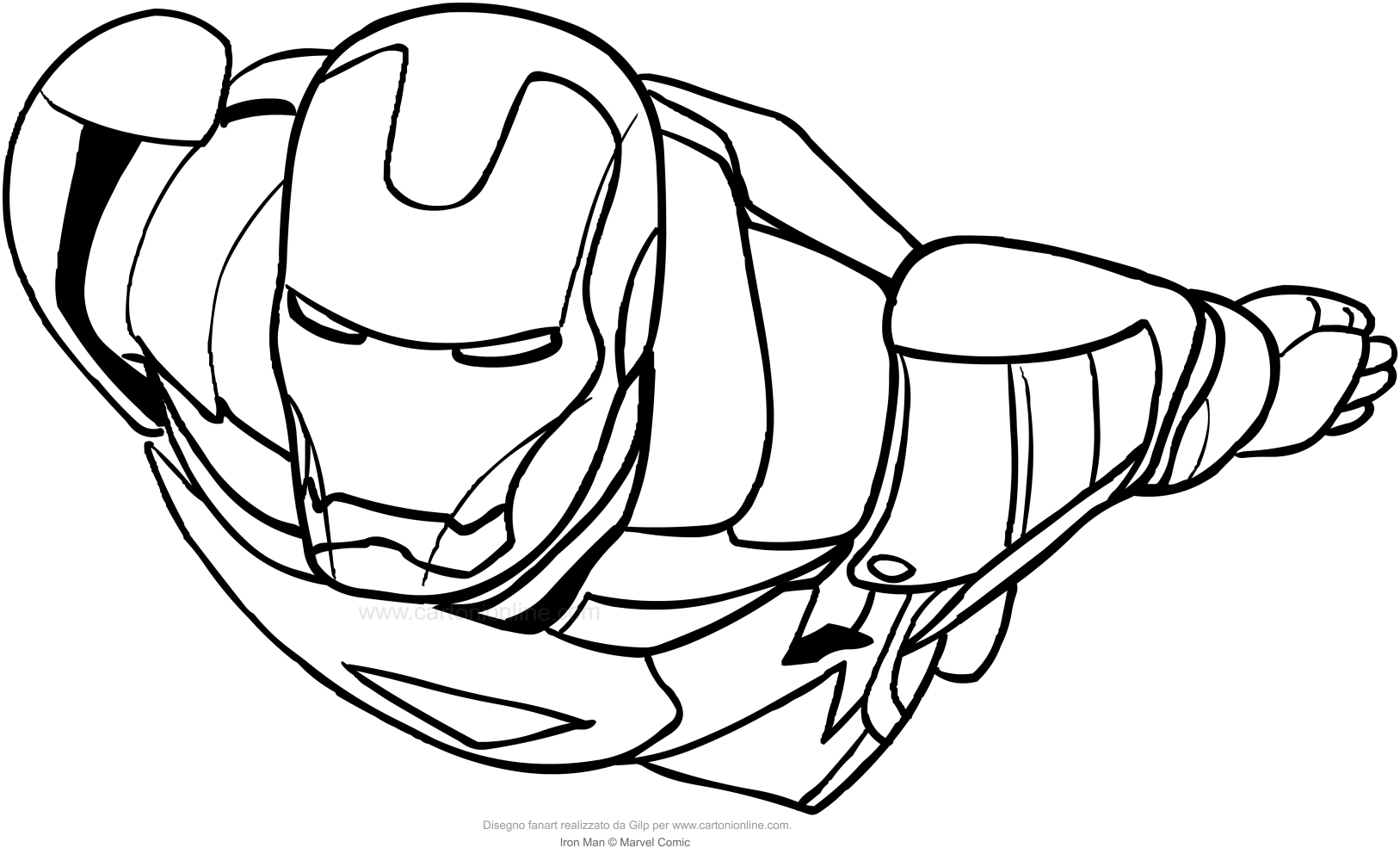Disegno di iron man in volo da colorare for Iron man da colorare