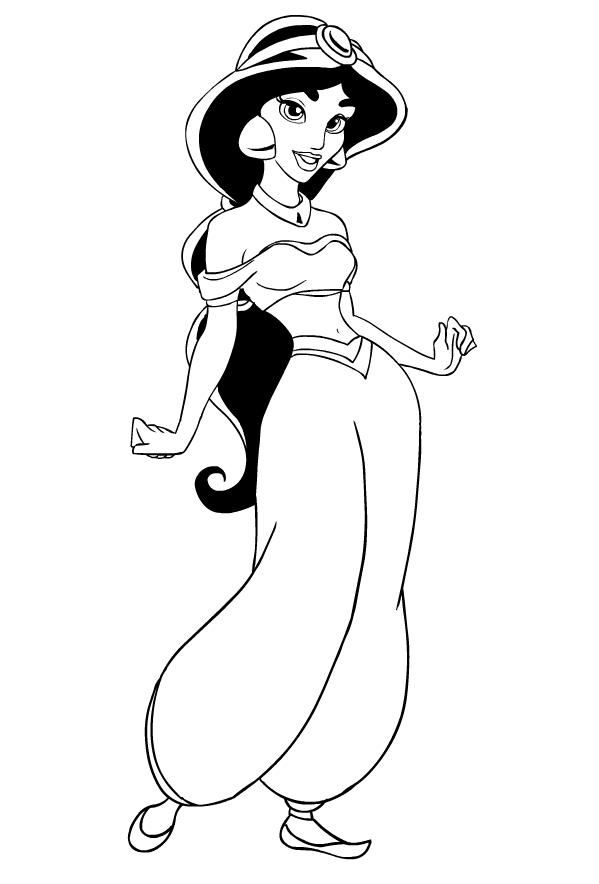 Dibujo de la Princesa Jasmine de Aladdin para imprimir y colorear