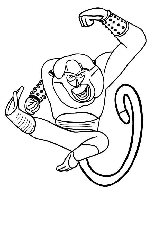 Disegno Del Maestro Scimmia Di Kung Fu Panda Da Colorare