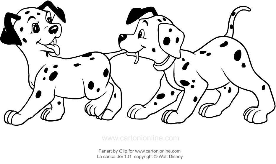 咬住他们的尾巴以进行打印和着色的101负责人的幼犬的图画