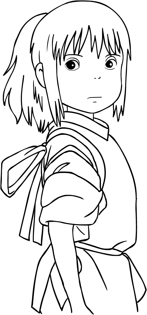 Chihiro From Spirited Away Coloring Page