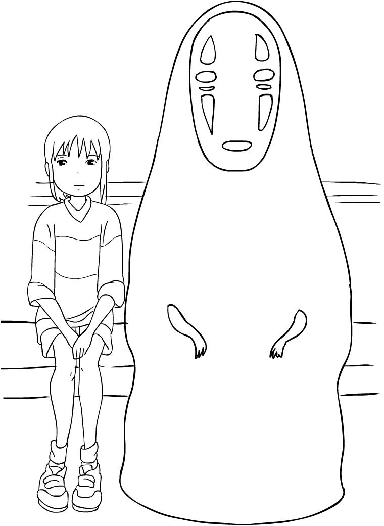 Desenho de chihiro와 Sem Rosto de A Viagem de Chihiro 파라 임 프리미어와 colorir