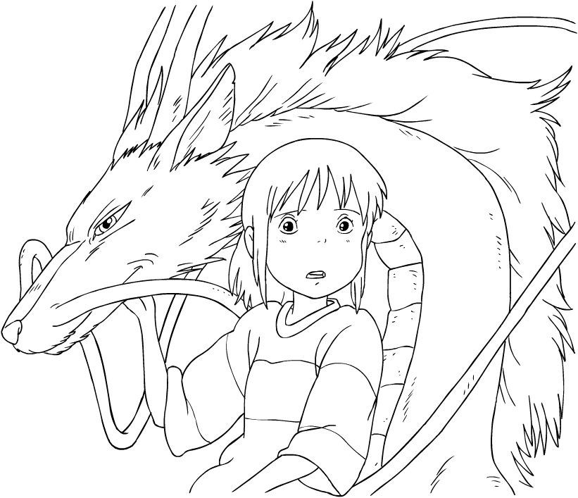 Chihiro And The Spirit Of The River From Spirited Away Coloring Page