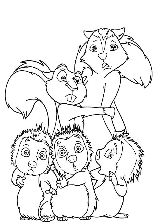 Dibujo 5 de La pandilla del bosque para imprimir y colorear