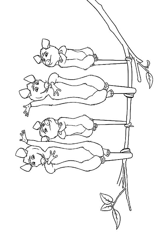 Dibujo 11 de La pandilla del bosque para imprimir y colorear