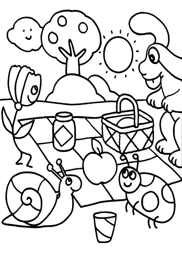 Disegno della Pimpa al pic nic da stampare e colorare