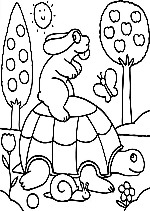 Disegno della Pimpa sulla tartaruga da stampare e colorare
