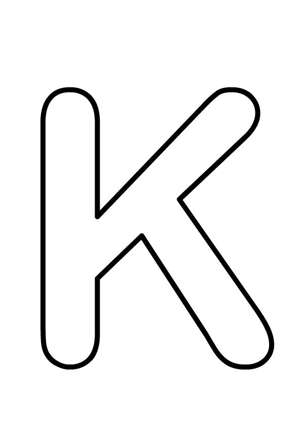 Lettera K maiuscola dell'alfabeto da stampare e colorare