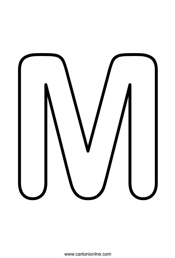 Hoofdletter M van het alfabet dat moet worden afgedrukt en gekleurd