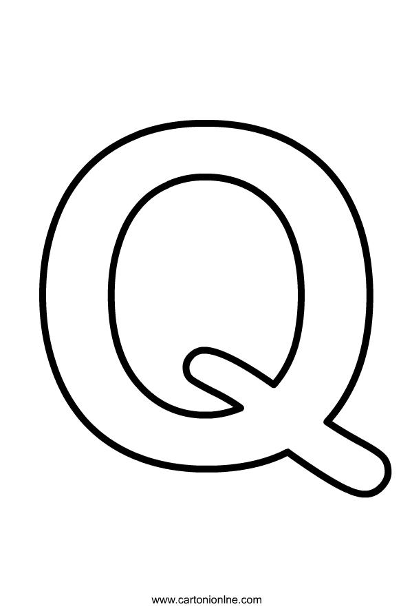 Hoofdletter Q van het alfabet dat moet worden afgedrukt en gekleurd