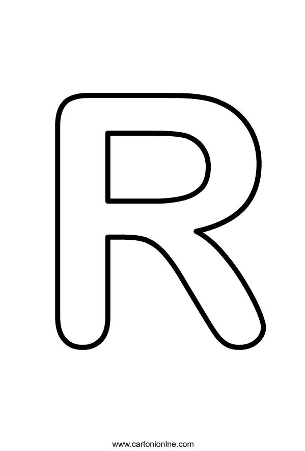 Hoofdletter R van het alfabet dat moet worden afgedrukt en gekleurd