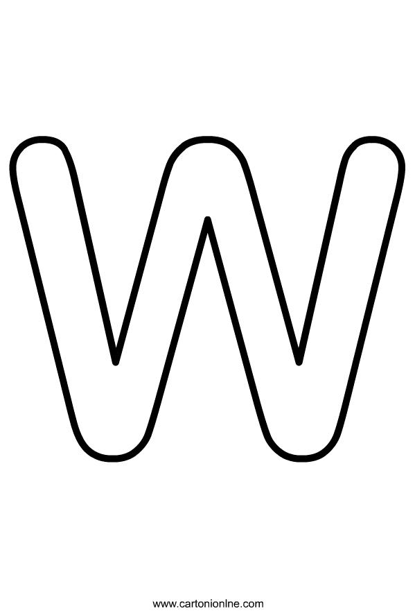 Hoofdletter W van het alfabet dat moet worden afgedrukt en gekleurd