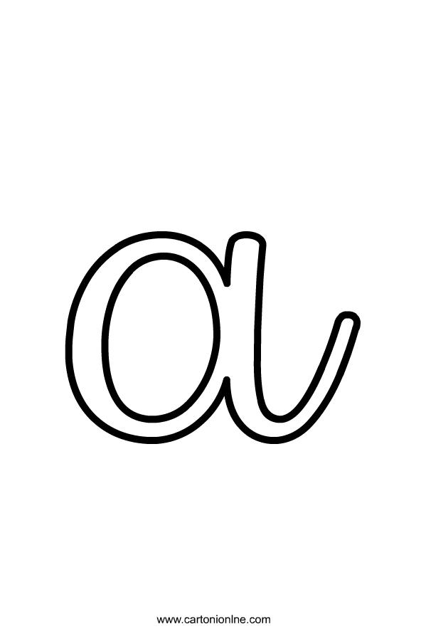 Kleine cursieve letter A van het af te drukken alfabet en kleur