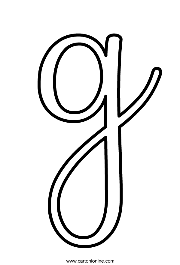 Lettera G minuscola in corsivo dell'alfabeto da stampare e colorare