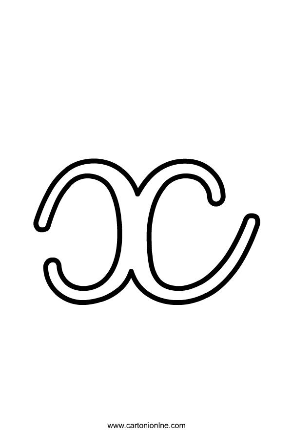 Kleine cursieve letter X van het af te drukken en te kleuren alfabet