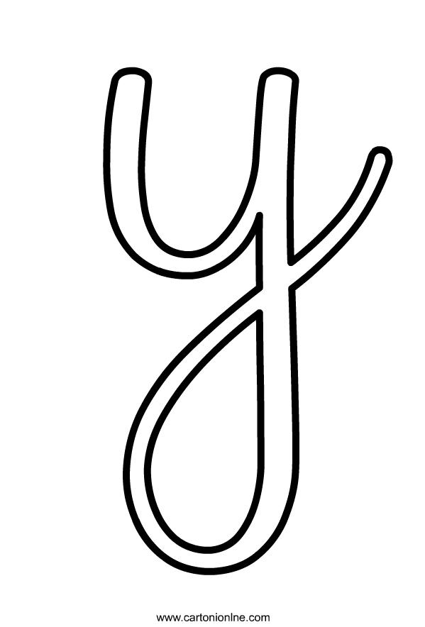Dibujo de letra cursiva min scula Y of the alphabet para imprimir y colorear