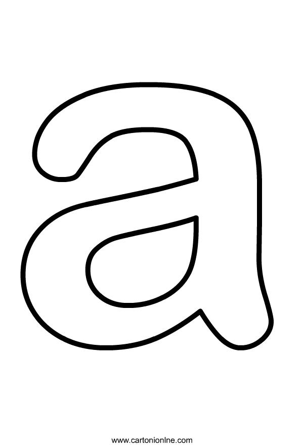 Kleine letter A van het af te drukken alfabet en kleur