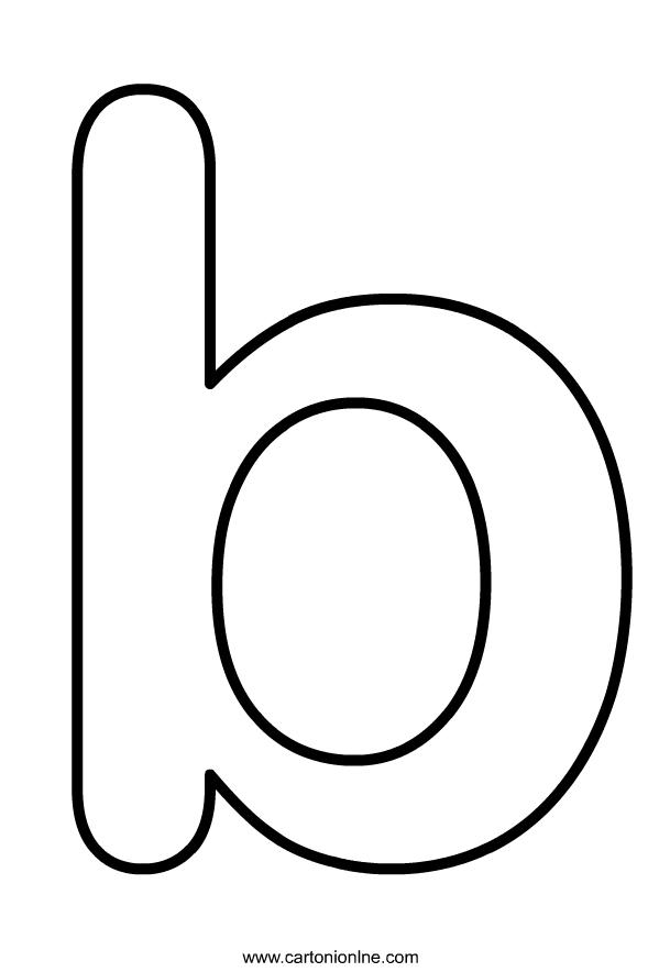 Kleine letter B van het alfabet om af te drukken en in te kleuren