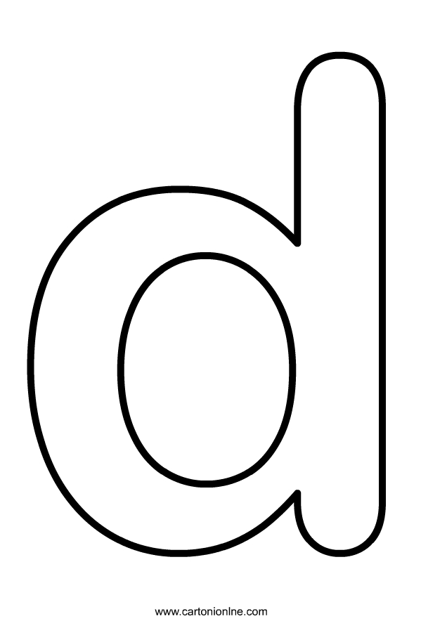 Kleine letter D van het alfabet om af te drukken en in te kleuren