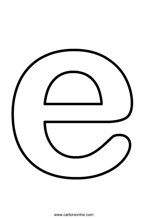 Kleine letter E van het alfabet om af te drukken en in te kleuren