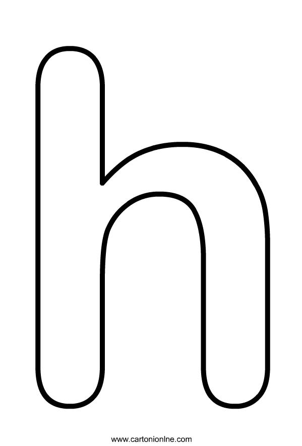 Kleine letter H van het alfabet om af te drukken en te kleuren