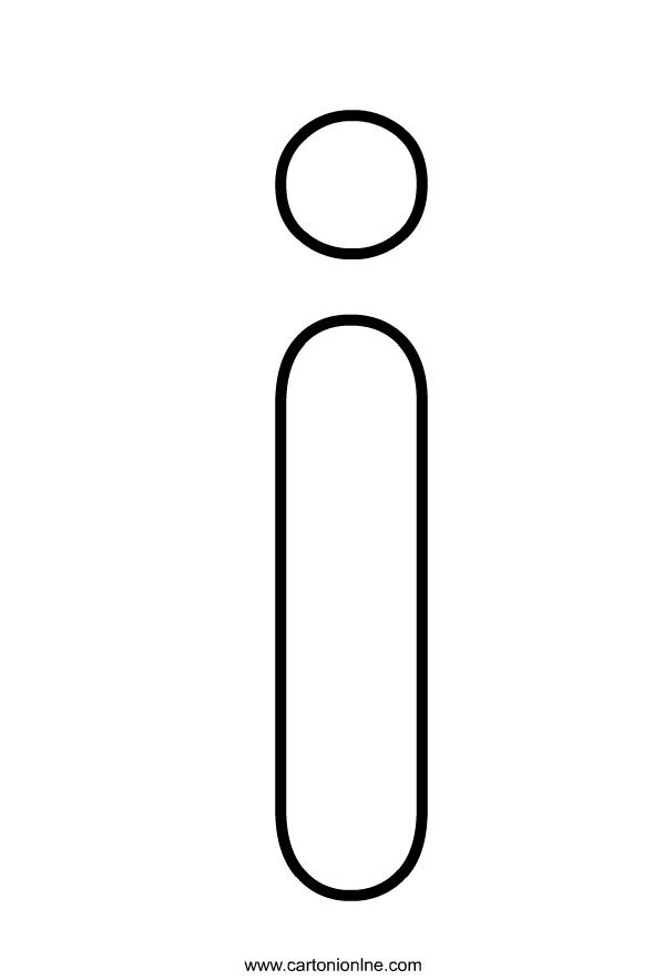 Kleine letter I van het alfabet om af te drukken en te kleuren