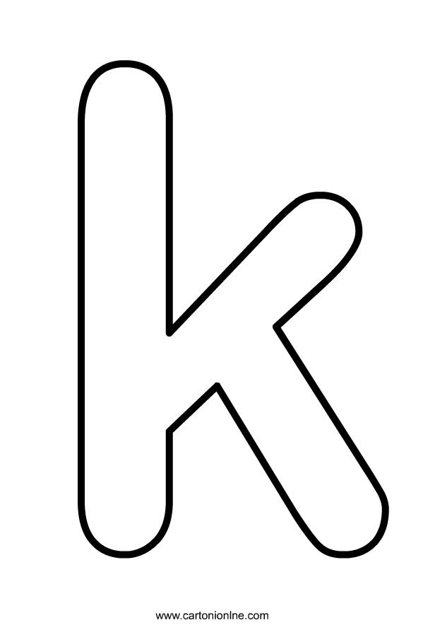 Lettera K minuscola dell'alfabeto da stampare e colorare