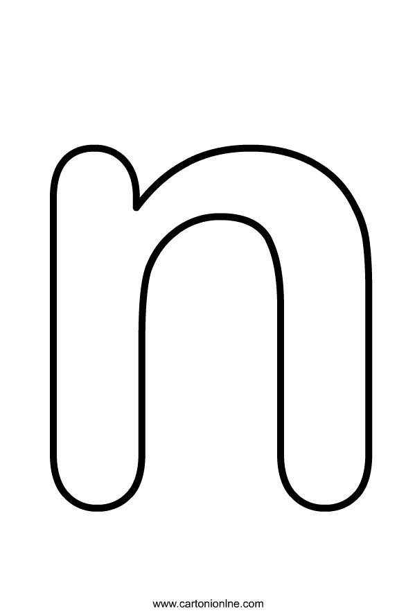 アルファベットのColoriagelettreminusculeNはimprimeretcolorierです