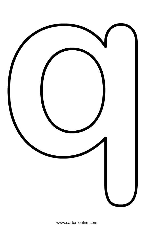 Ausmalbilder Kleinbuchstaben Q des Alphabets zum Drucken und F rben