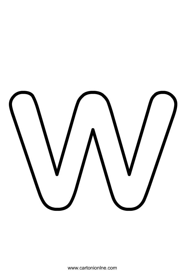Kleine letter W van het af te drukken alfabet en kleur