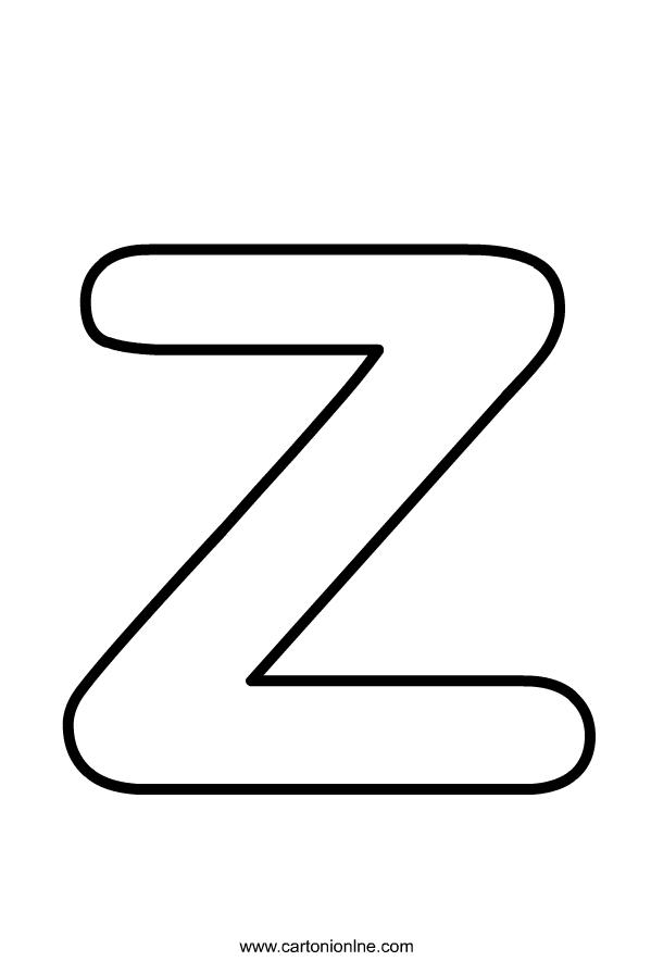 Aakkosten pienet kirjaimet Z   värityskuvats tulostaa ja värittää