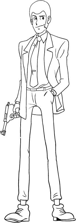 Colorear Lupin III para imprimir y colorear