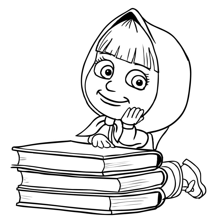 Disegno da colorare di masha con i libri for Masha e orso disegni da colorare