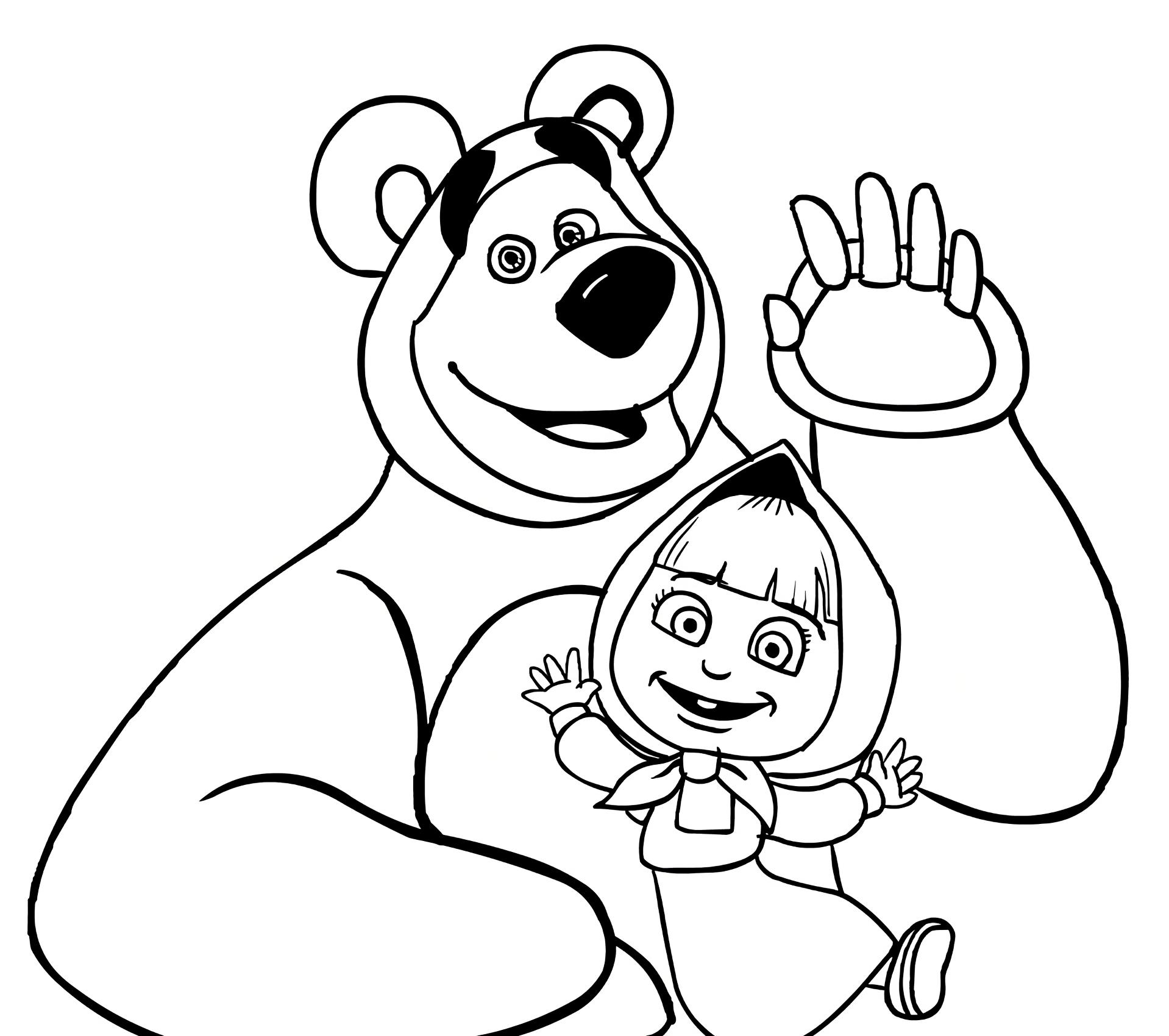 маша и медведь черно белый рисунок нашем сайте собраны